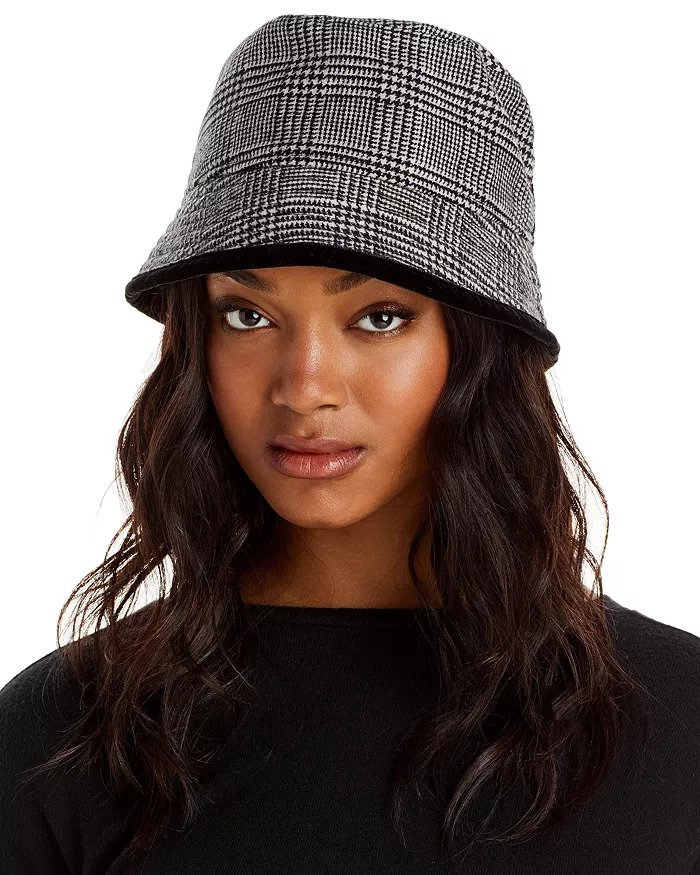 Check plaid black and white bucket hat at Bloomingdale's