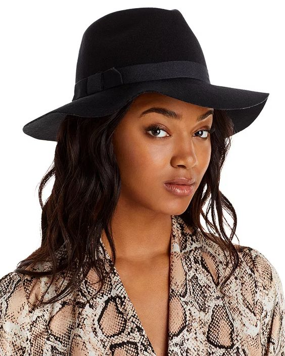 Brown fedora worn with long hair - Bloomingdale's
