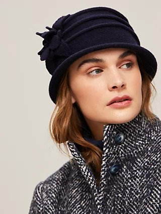 Navy cloche felt hat at John Lewis & Partners