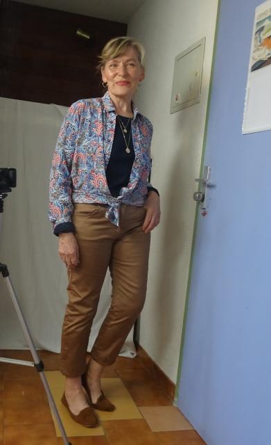 Brora silk shirt in Liberty pattern over tan jeans