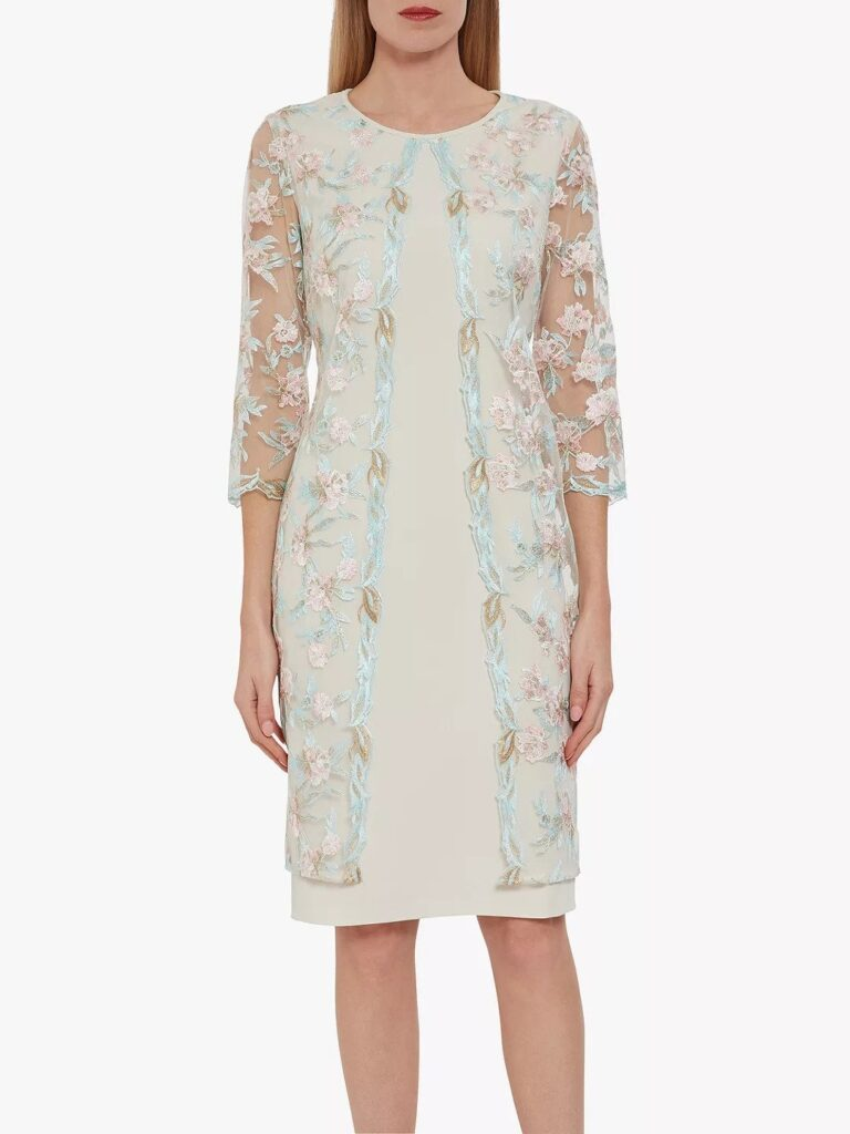 Simple sheath dress in pink with knee-length cover-up in turquoise and pink embroidered mesh by Gina Bacconi at John Lewis
