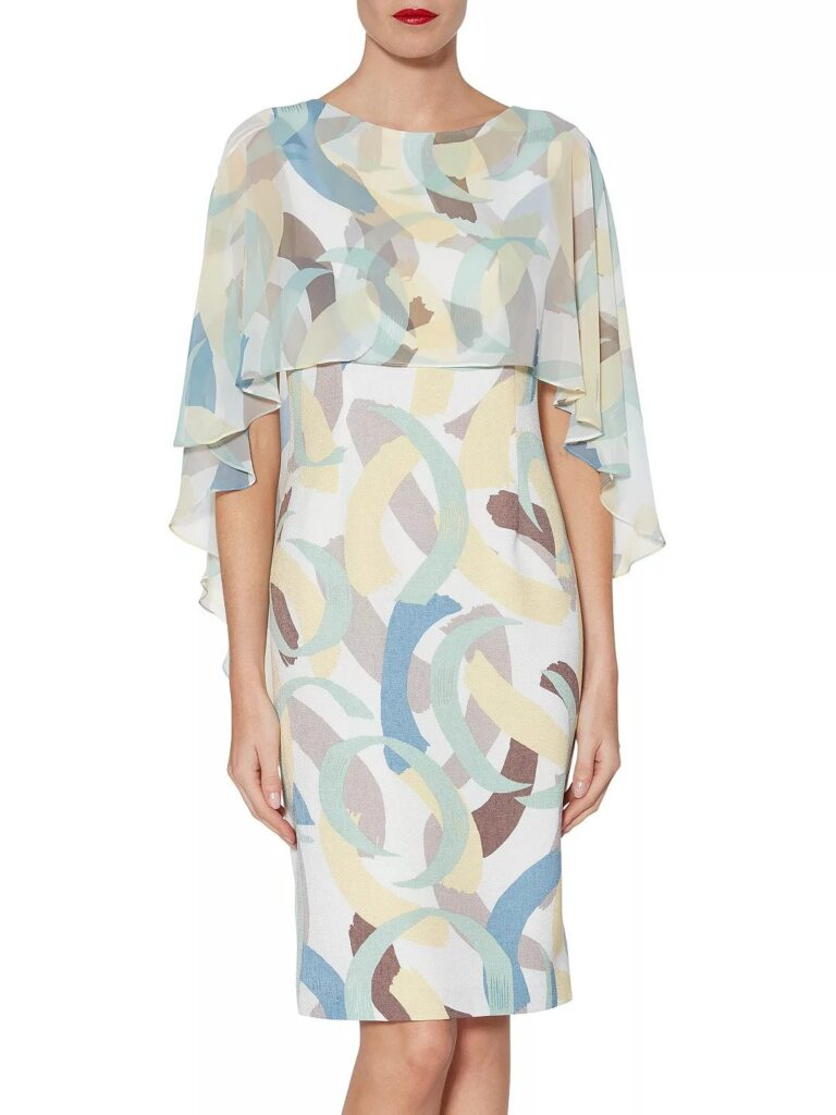 A pretty knee-length dress in an abstract design of Spring pastel colors and an attached floaty cover-up by Gina Bacconi at John Lewis